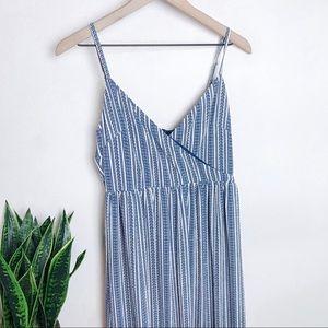 Navy Blue & White striped Maxi Dress